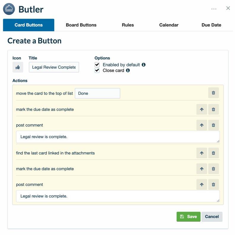 Bouton de tableau Butler pour automatiser les actions carte par carte.